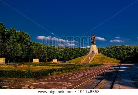 View to Soviet Soviet War Memorial aka Soviet Cenotaph - 26-07-2016 Treptower Park in Berlin Germany