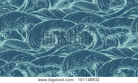 Seamless pattern with hand drawn sea waves in sketch style. Vector endless background in blue colors.