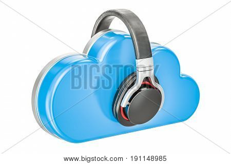 Cloud music concept. 3D rendering isolated on white background