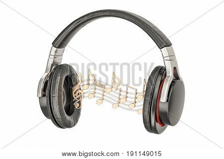 Headphones with music notes musical concept. 3D rendering isolated on white background