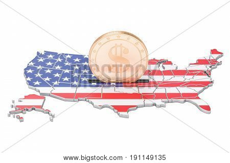 Investments in the USA business concept. 3D rendering