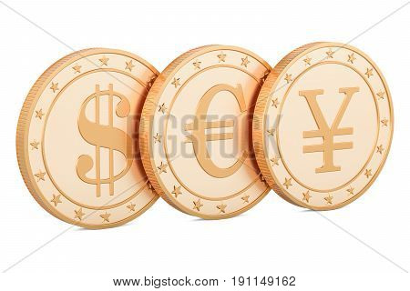 set of golden coins. Dollar euro and yen or yuan 3D rendering isolated on white background