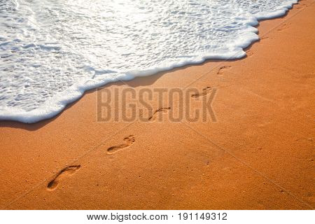 beach, wave and footprints at sunset time