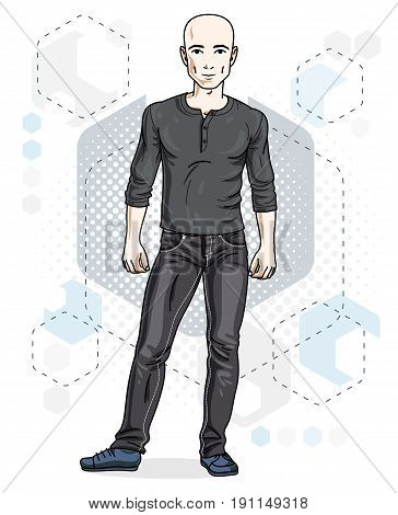 Confident handsome hairless young man standing. Vector illustration of male wearing casual clothes jeans pants and sweathirt.