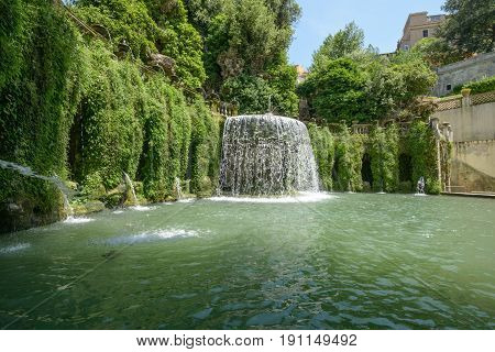Nice and big fountain in Tivoli loking like a waterfall