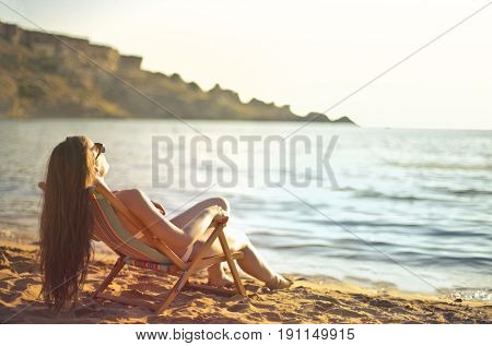 Sunbathing at the beach