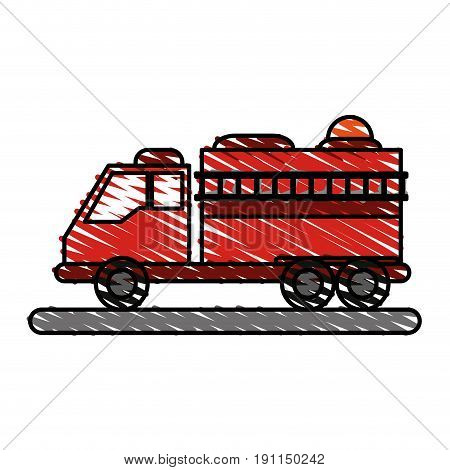 Fire truck puts out fire illustration vector design icon scribble