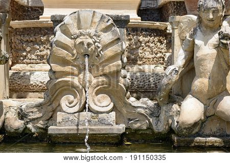 Particular of a fountain in Tivoli Italy