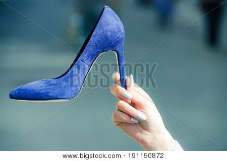 Glamour Shoe Blue Color Suede On Female Hand