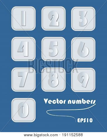 Artistic number set in metallic design. Digits in square elements with rounded corner. Silver metal powerful element for infographic template. Vector EPS10