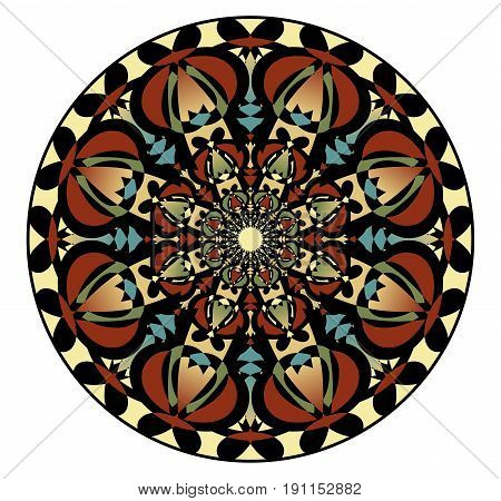 Mandala in nostalgic colors for the acquisition of calm and equanimity. A symmetrical pattern in eight planes is a good complement for meditation training