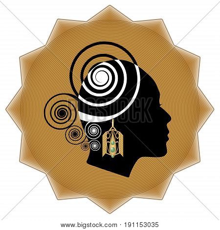 Women face profile silhouette with art deco golden earring on background in star shape. Promotional emblem for goldsmith and jewelry sale.