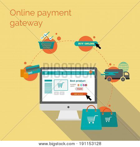 Online payment gateway. Flat vector illustration. Shopping cart