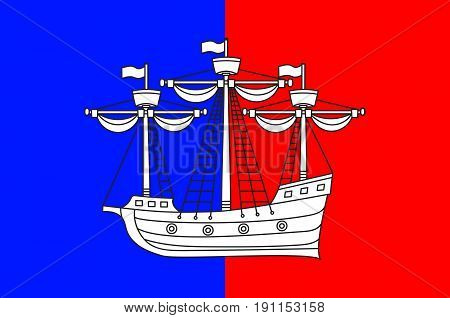 Flag of Dieppe is a coastal community in the Arrondissement of Dieppe in the Seine-Maritime department in the Normandy region of northern France. Vector illustration