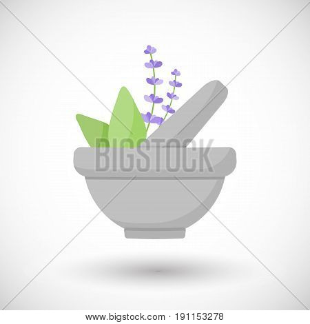 Mortar herbs vector flat icon Flat design of aromatherapy cooking or ayurveda object with round shadow vector illustration
