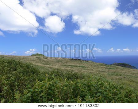 The ancient volcano on Easter Island in the South Pacific