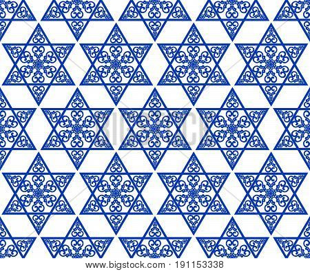 Star of David decoration tile with geometric vintage yew ornament in blue design eps10 vector. Religious motif seamless background.
