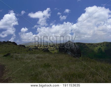 Beautiful Easter Island in the South Pacific volcanic landscape
