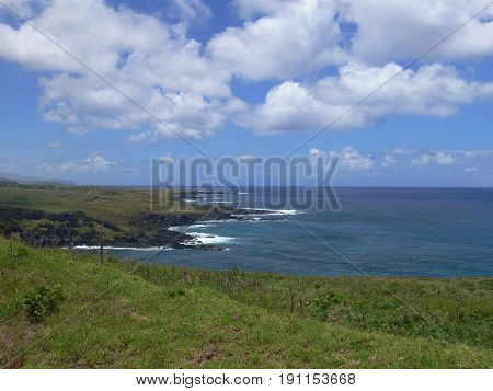 Volcanic Lava Coastline of Rapa Nui - Easter Island Polynesia in the South Pacific
