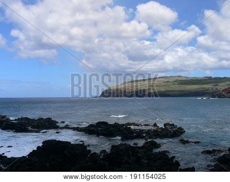 Beautiful landscape and deep blue Pacific Ocean as seen on Easter Island