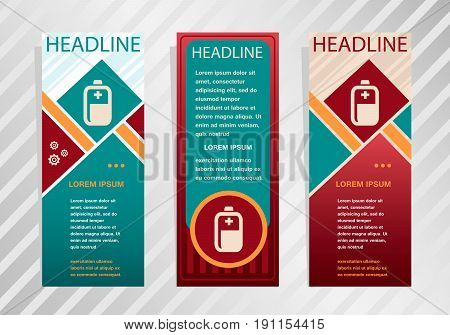Battery Icon On Vertical Banner. Modern Abstract Flyer, Banner, Brochure Design Template.