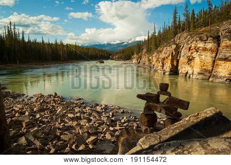 A tranquil view of the Athabasca River in Jasper National Park