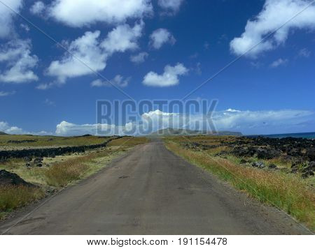 Highway on Easter Island leading to the sea