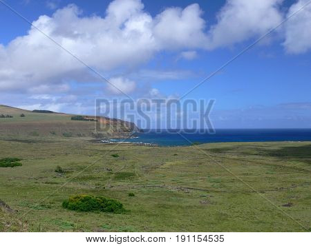 Landscape at easter island and green hils