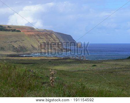 Moai Stone Statues at Rapa Nui - Easter Island Polynesia Chile