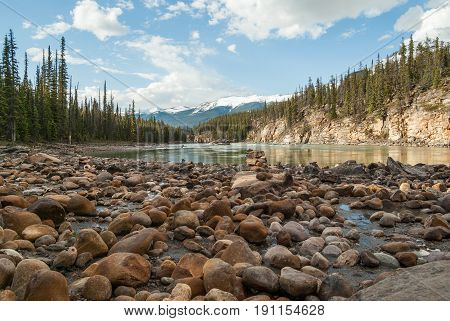 The stony beach at the edge of the Athabasca River in Jasper National Park