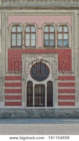Facade of Sirkeci Metro Station with red bricks and windows Istanbul Turkey