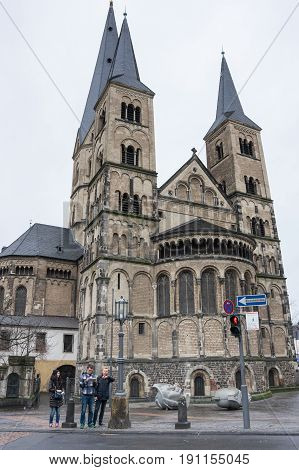 BONN GERMANY - FEBRUARY 21 2016: The Bonn Minster is a Roman Catholic church in Bonn Germany. It is one of Germany's oldest churches having been built between the 11th and 13th centuries