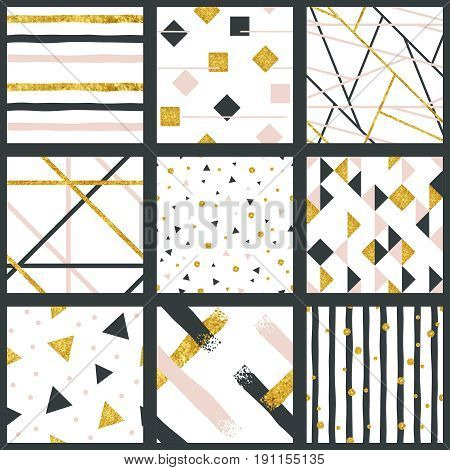 9 elegant abstract seamless patterns with metallic gold elements. Graphics are grouped and in several layers for easy editing. The file can be scaled to any size.
