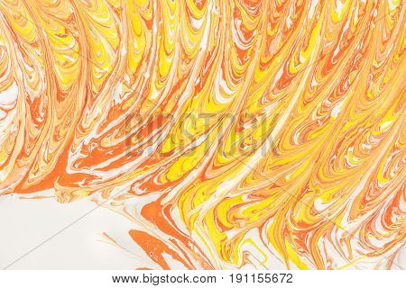 Abstract illustration of a combination of red and yellow colors on a white based chaotic pattern of lines art background