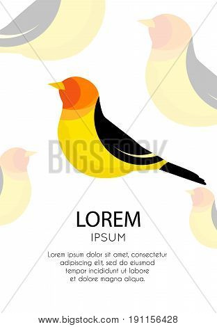 Placard with abstract icon of a bird and text field. Vector illustration.