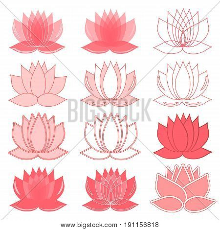 Set of lotus flowers. lotus symbol or icon for spa salon, yoga class, hotel, resort or wellness industry. isolated on white background