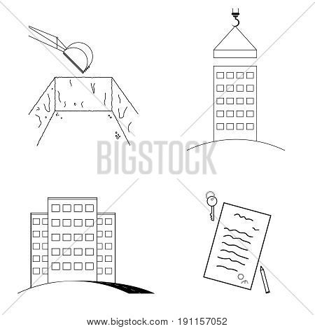 Stages of construction. Excavator digs foundation pit foundation unfinished house construction ready house with road real estate purchase agreement and key.