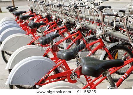 Rental bicycles parked, Zaragoza, Spain.
