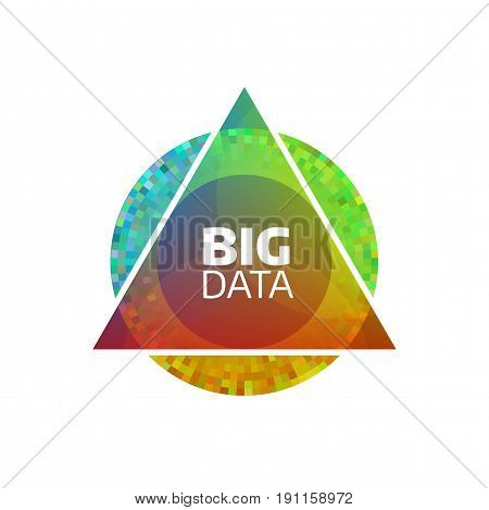 Big data vector icon. Abstract geometric bigdata flat concept. Circle and triangle shapes. Information analysis and analytics