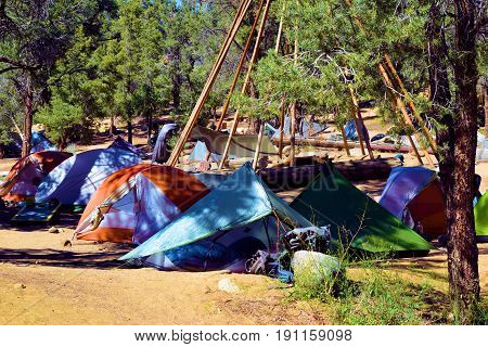 Tents surrounded by Pine Trees at Kennedy Meadows Campground in the Southern Sierra Nevada Mountains, CA