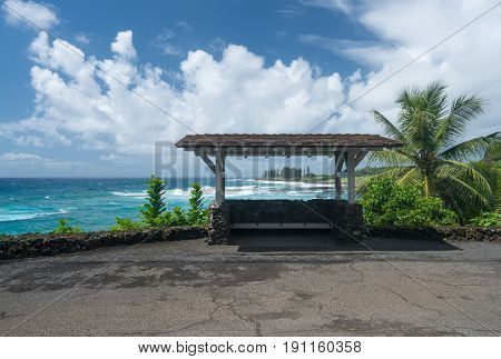 Local bus stop or shelter by Hamoa beach near Hana on Hawaiian island of Maui