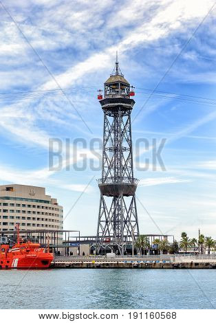 BARCELONA, SPAIN - MAY 2017: Funicular tower at sea port of Barcelona town, Spain