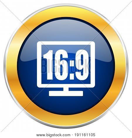 16 9 display blue web icon with golden chrome metallic border isolated on white background for web and mobile apps designers.