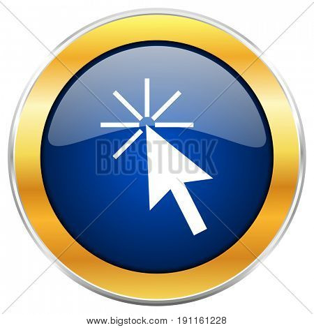 Click here blue web icon with golden chrome metallic border isolated on white background for web and mobile apps designers.