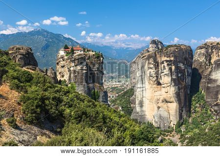 Meteora monasteries. Beautiful view on the Holy Monastery of Great Meteofo placed on the edge of high rock at sunrise, Kastraki, Greece