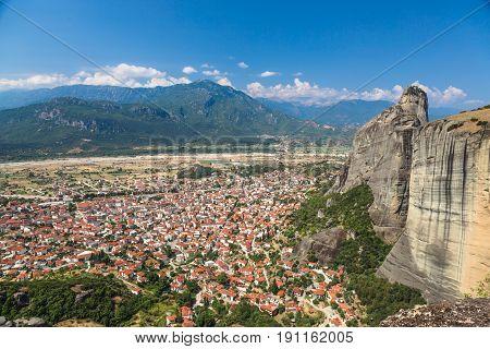 Panorama of Kalambaka city with rocy mountains of Meteora, the landmark of six monasteries in Greece