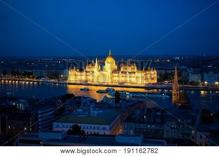 The building of the Hungarian Parliament in Budapest at the river Danube, Hungary