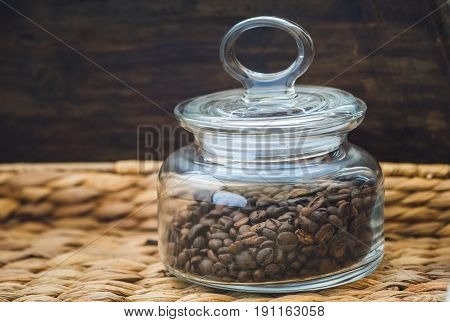 Roasted Coffee Beans in Closed Glass Jar