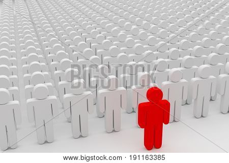 closeup of one red man in front of a crowd of plain people 3d rendering