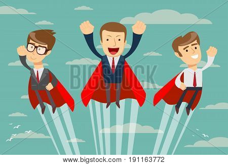 Super business team- businessmen in red capes flying upwards to their success. Stock vector illustration for poster, greeting card, website, ad, business presentation, advertisement design.